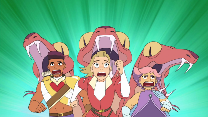 Adora Glimmer and Bow trying to survive Crimson Waste.png