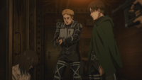 Varis holds Eren at gunpoint