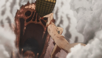 Eren throws gunpowder into Rod's Titan