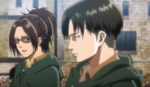 Hange teases Levi as they leave Trost District.png