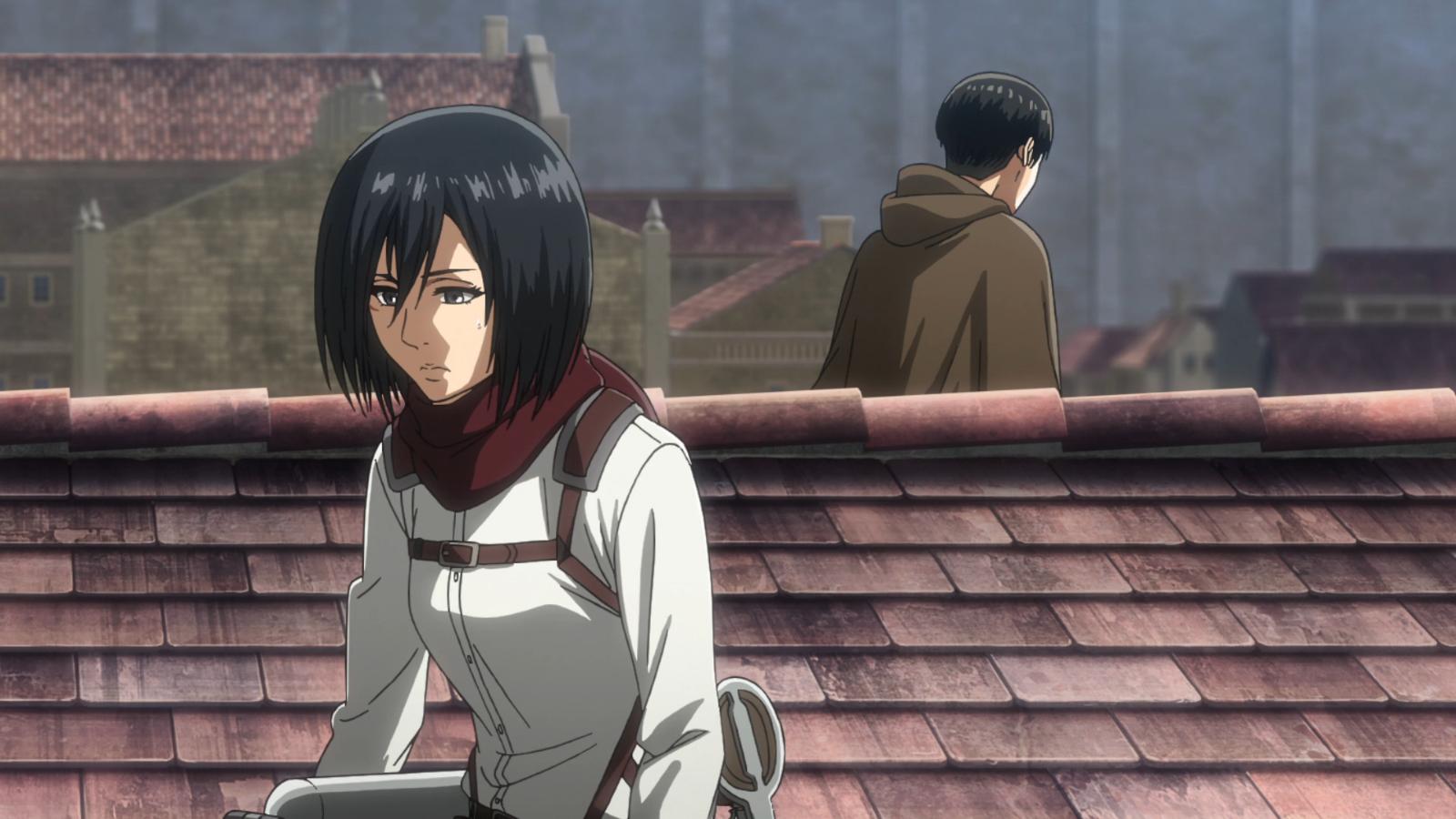 Mikasa warnt Levi, dass Armins Verkleidung nicht ewig funktionieren wird.png