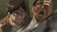 Eren uses Bertholdt as a hostage