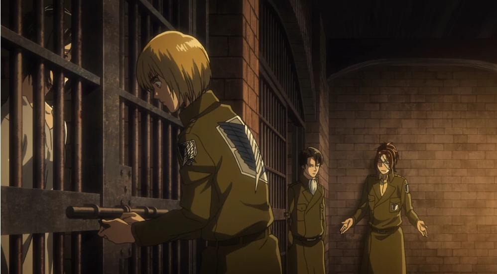 Armin, Levi und Hanji vor der Zelle.png