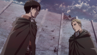 Levi suggests that Erwin escape on Eren