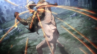 Eren strikes the Armored Titan's head