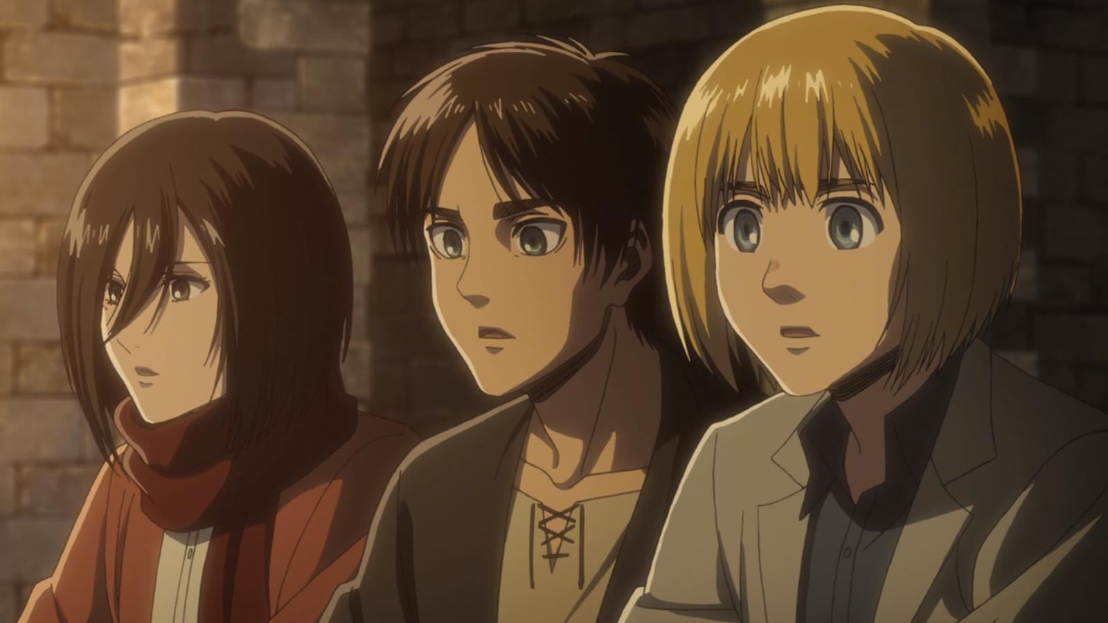 Mikasa, Eren und Armin sehen einen Soldaten.png