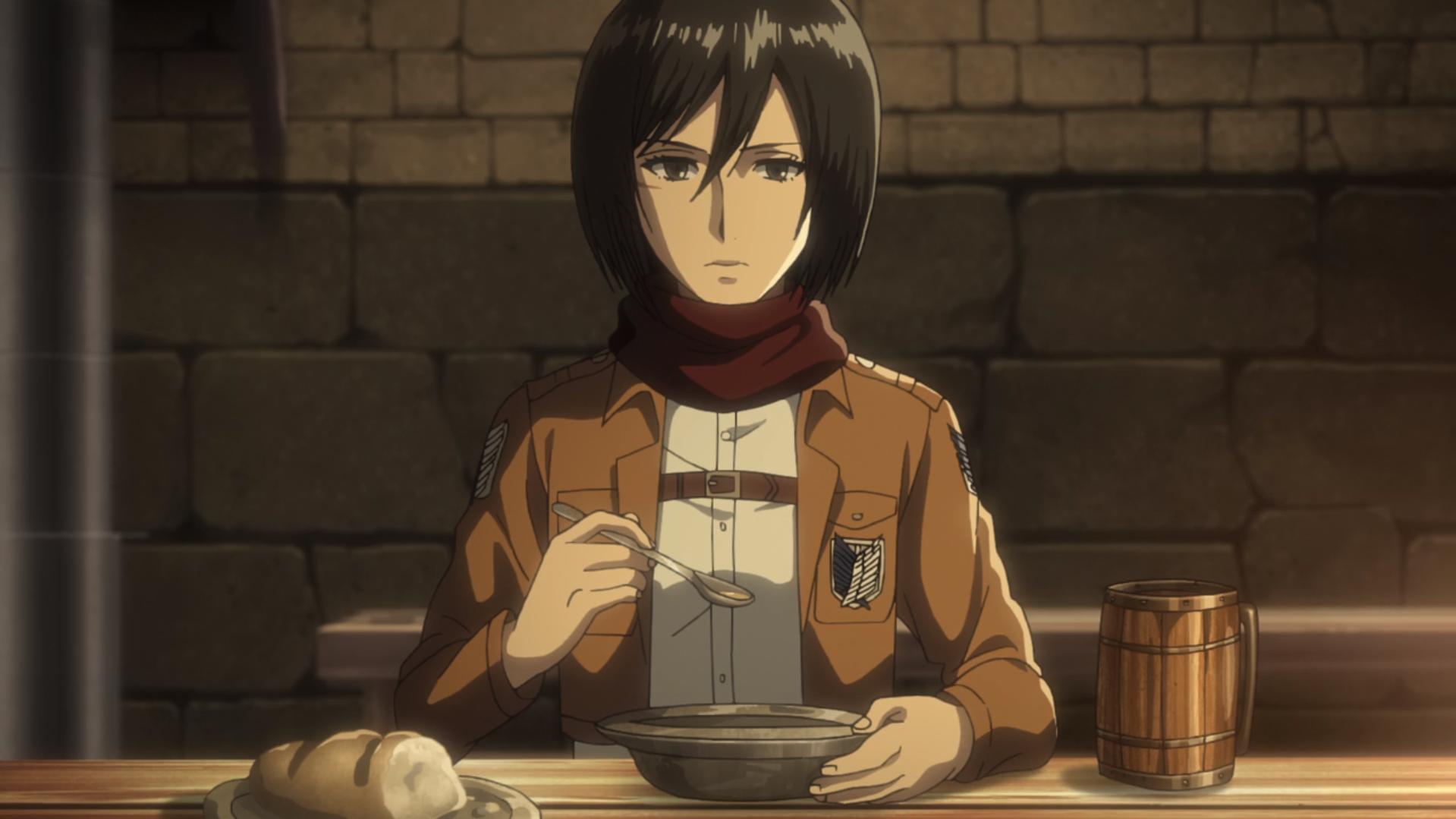 Mikasa ermahnt Eren, dass er erst reden soll, wenn er aufgegessen hat.png