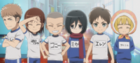 Jean, Sasha, Connie, Mikasa, Eren and Armin after cleaning