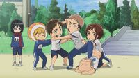 Sasha tries to stop a fighting Jean and Eren