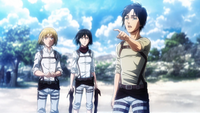 Eren, Armin, and Mikasa at the sea