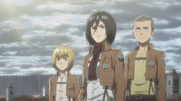 Armin, Mikasa und Connie in Trost.png