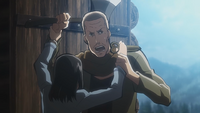Mikasa's mother fights off a bandit