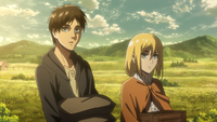 Eren and Historia carry supplies on the farm