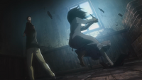 Mikasa with the knife