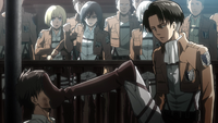 Levi beats up Eren