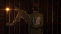 Hange meets Eren in his cell