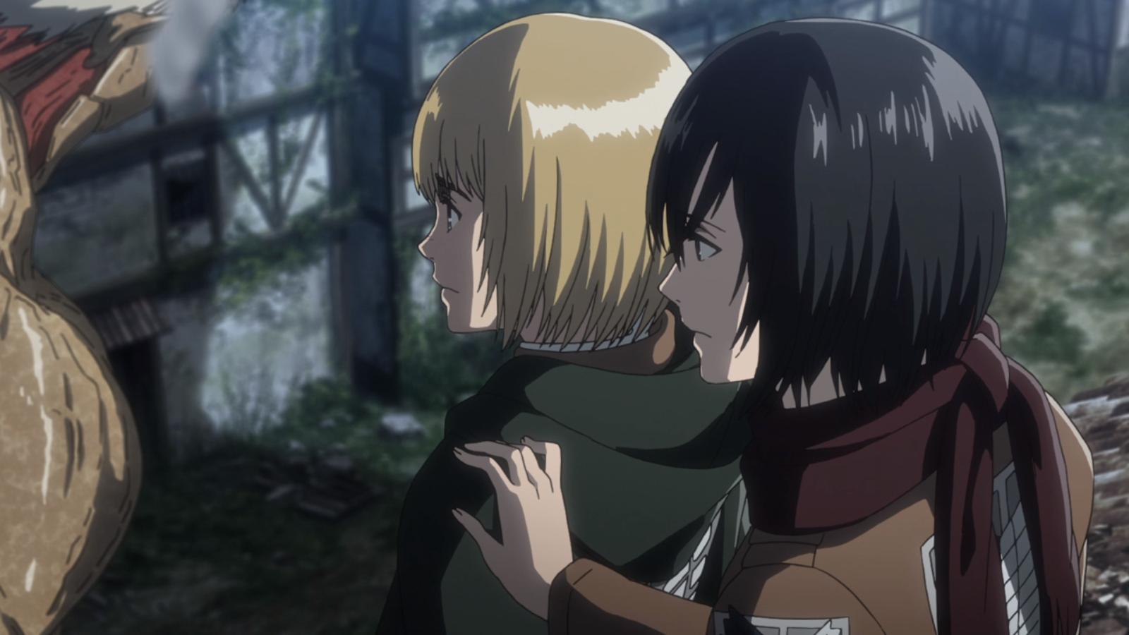 Mikasa bemerkt, dass Armin ganz still ist.png