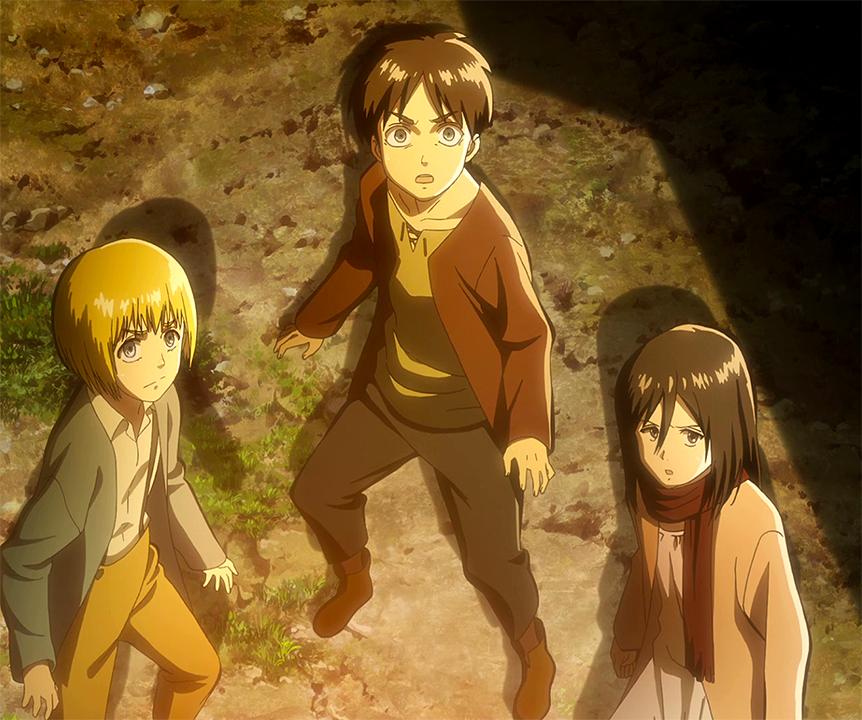 Eren, Armin und Mikasa sehen den Kolossalen Titanen.png