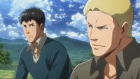 Bertholdt and Reiner agree to help Conny with the southern territory