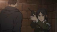 Pieck holds Eren at gunpoint