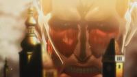 The Colossal Titan outside Shiganshina