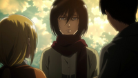 Mikasa confronts Eren and Historia