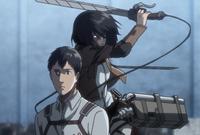 Mikasa tries to kill Bertholdt