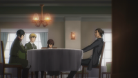 Eren talks with Armin and Mikasa