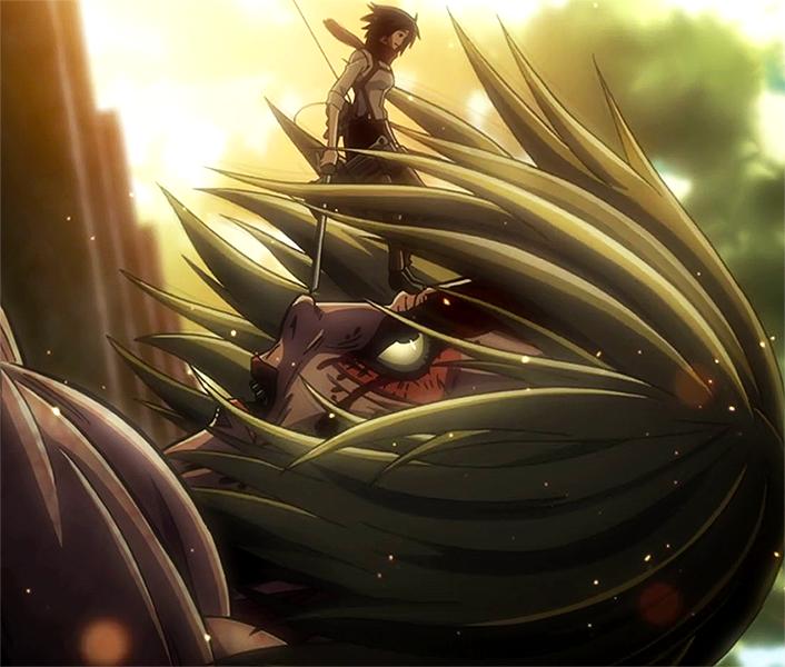 Mikasa verhindert, dass der weibliche Titan entkommt.png