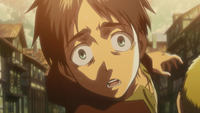 Eren watches as Carla is eaten by a Titan