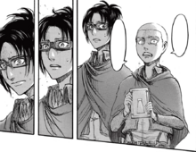 Hange and Connie explain that Titans are humans.png