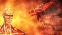 Armin tries to withstand the Colossal Titan's heat