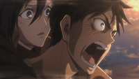 Eren threatens Reiner and Bertholdt