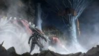 The War Hammer Titan impales the Attack Titan