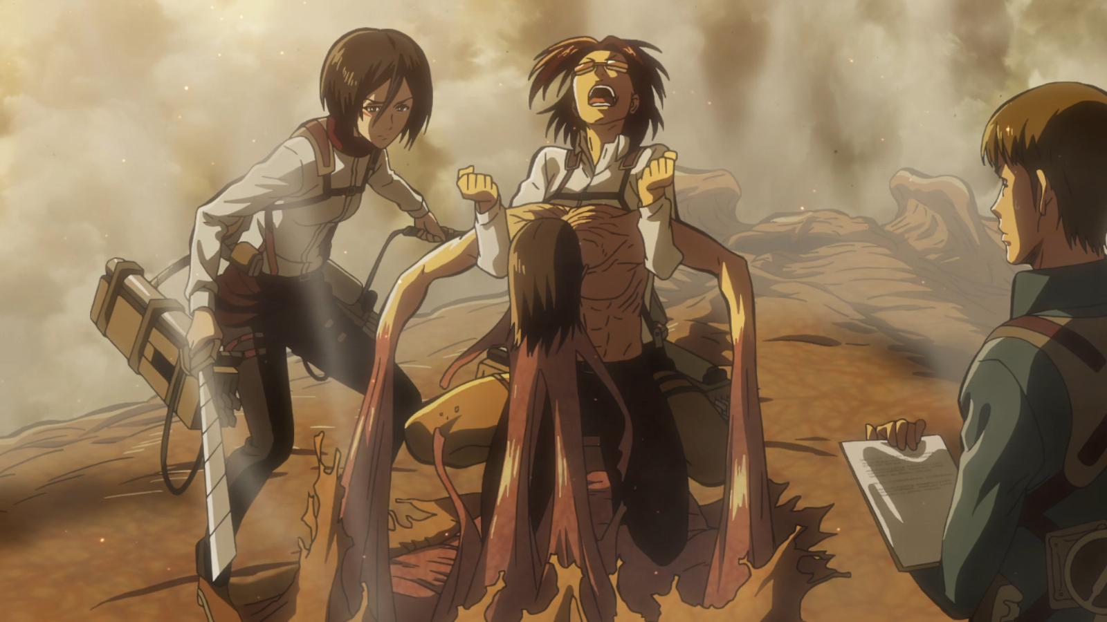 Hanji versucht Eren aus seinem Titan zu ziehen.png