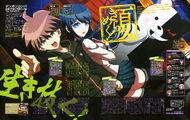 Monthly Animage July 2013 - DRtA - Sayaka Maizono Makoto Naegi Monokuma.jpg
