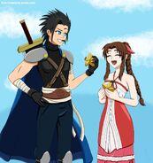 Kingdom Hearts Zack and Aerith by xgirl109
