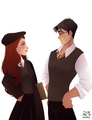 Lily Evans and James Potter by archibaldart.png