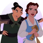 Mulan and Belle by roodle-things