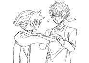 Sou fixing Shin's scarf