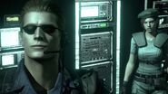 Weskertine - Wesker and Jill looking up at the Tyrant