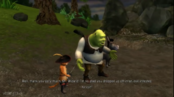 Shrek Donkey Puss at front of the evil queen castle