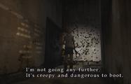 Heather in corridor with moths