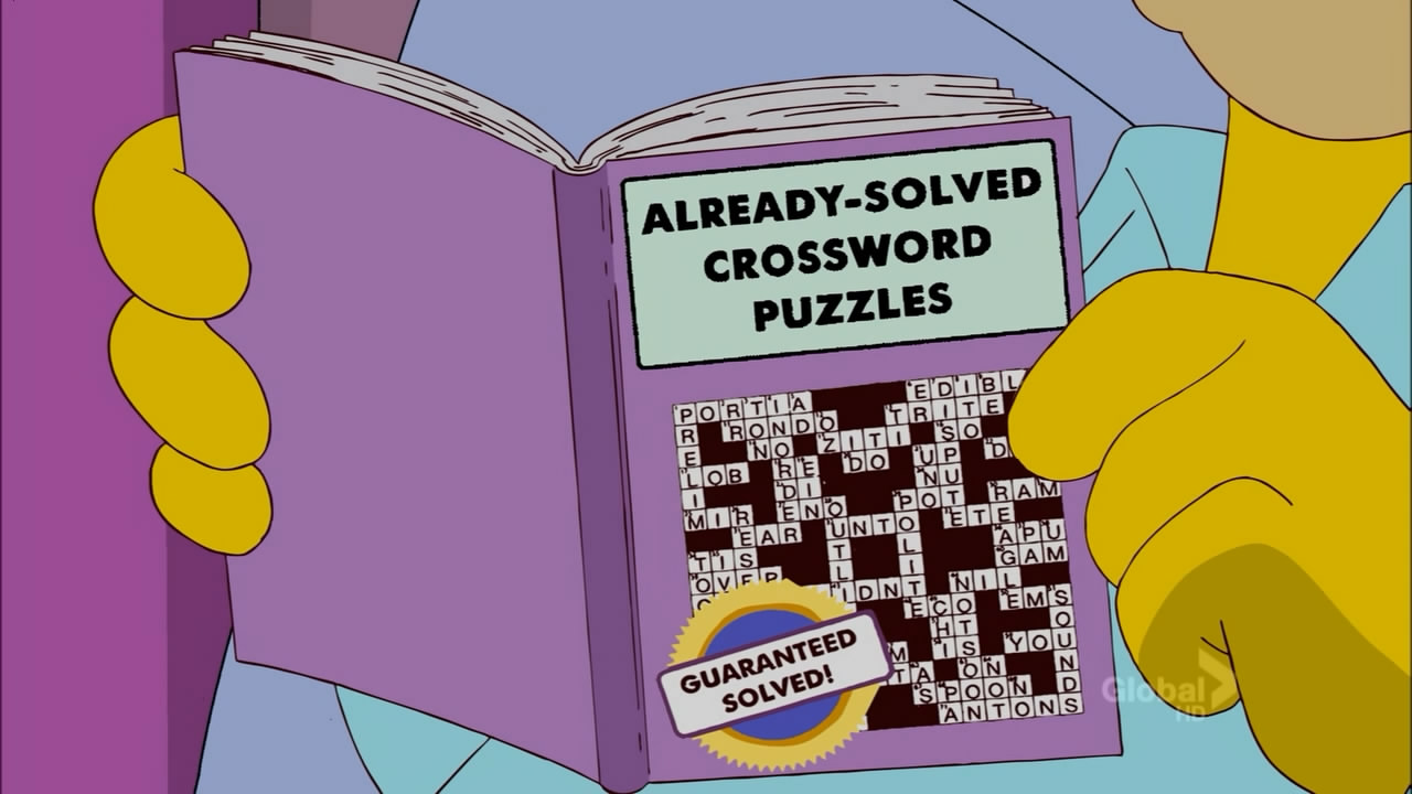 Already-Solved Crossword Puzzles