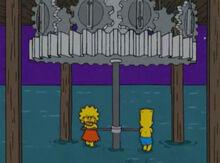Lisa bart girando carrossel água