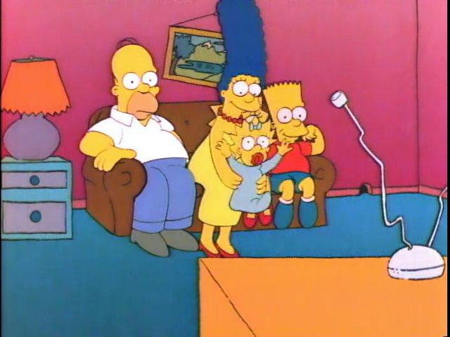 Squashed Maggie couch gag