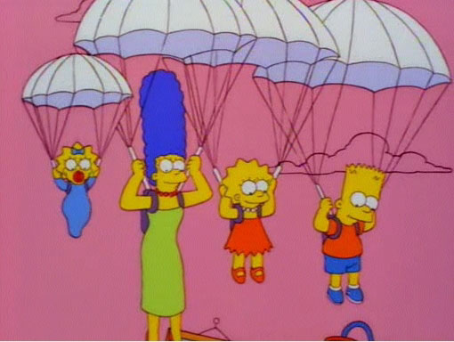 Parachute couch gag
