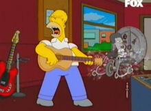 Homer violão menino máquina tempo