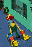 Willie carrying the simpsons children' corpses