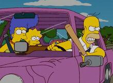 Homer fúria bastão carro